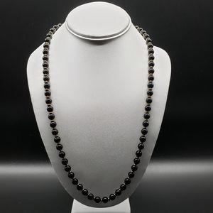 VINTAGE Black Beads & Gold Separator Necklace